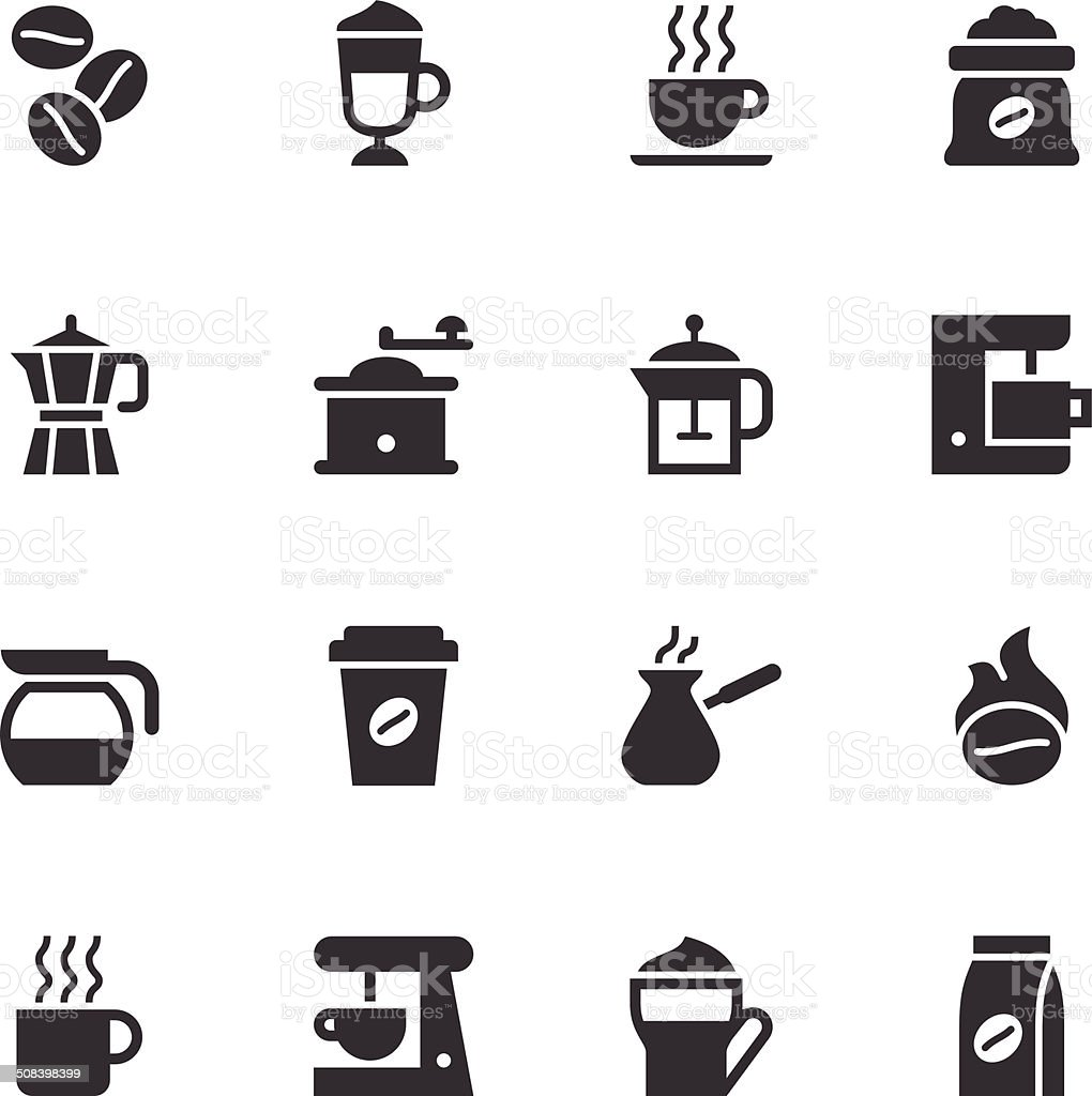 Coffee Icons - Black vector art illustration