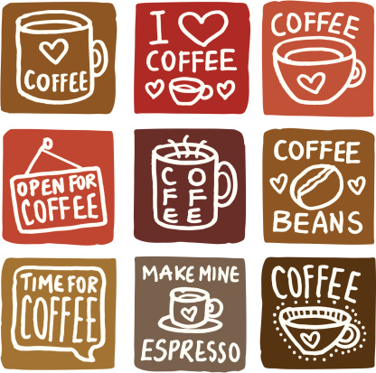 Coffee icons block icon set