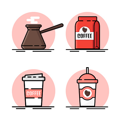 Coffee icons. Coffee machine, a glass of coffee. Vector illustration.