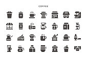 Coffee Icons - Glyph Vector EPS 10 File, Pixel Perfect 28 Icons.