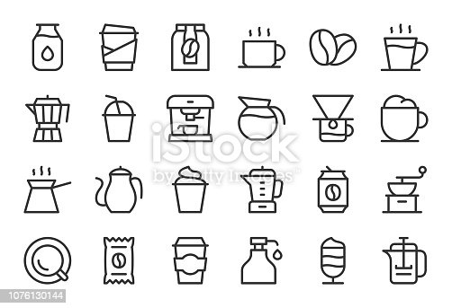 Coffee Icons Light Line Series Vector EPS File.