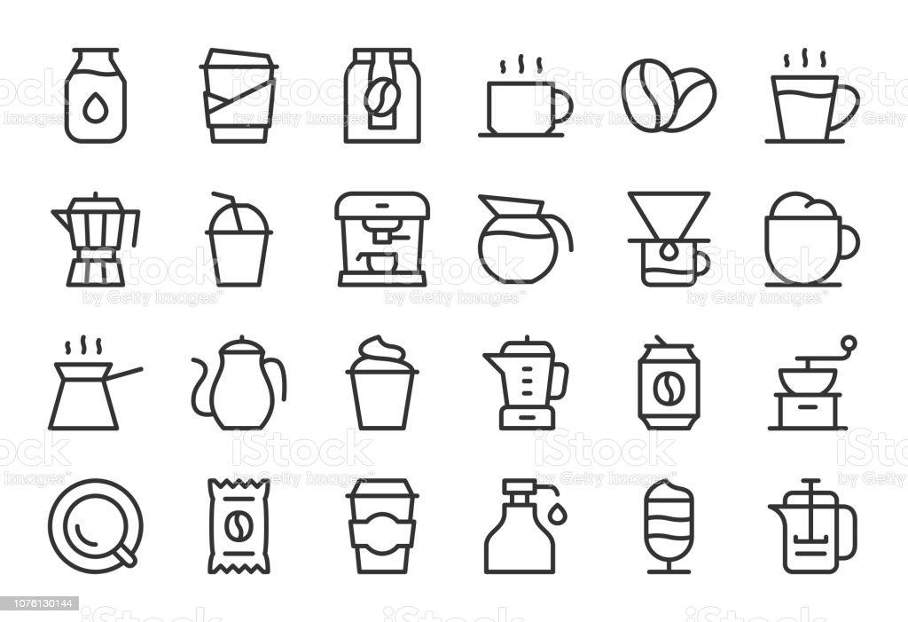 Iconos de café - línea liviana serie - ilustración de arte vectorial