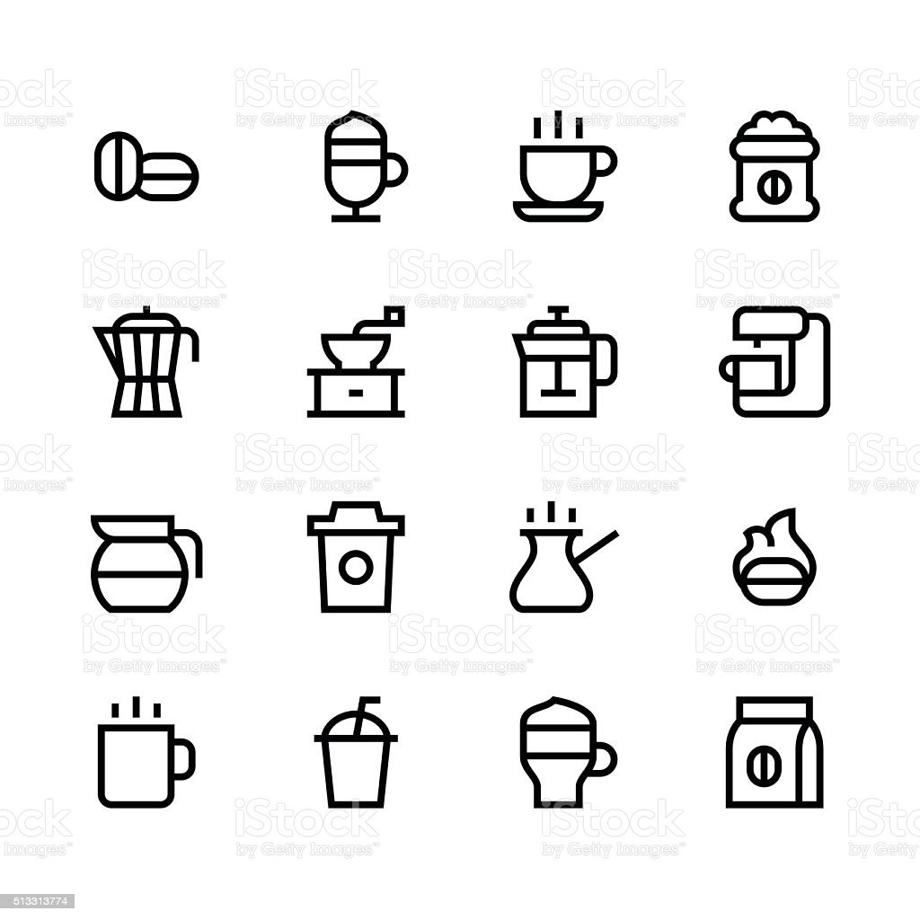 Coffee icons - line - black series vector art illustration