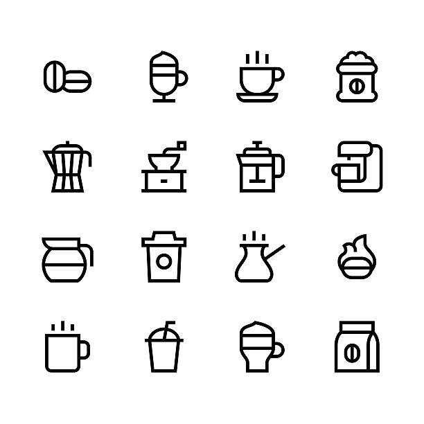 Coffee icons - line - black series Coffee icons - line - black series  Vector EPS File. irish coffee stock illustrations