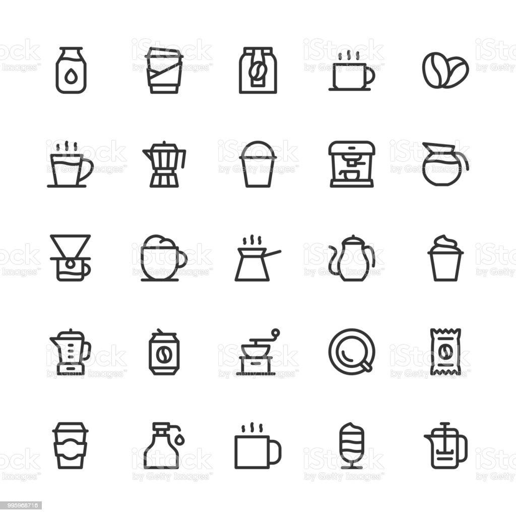 Iconos de café - línea serie - ilustración de arte vectorial