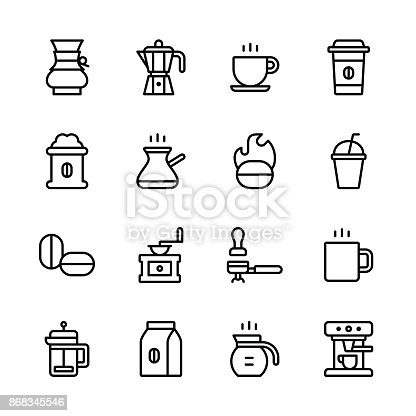 Coffee icons - line Vector EPS File.