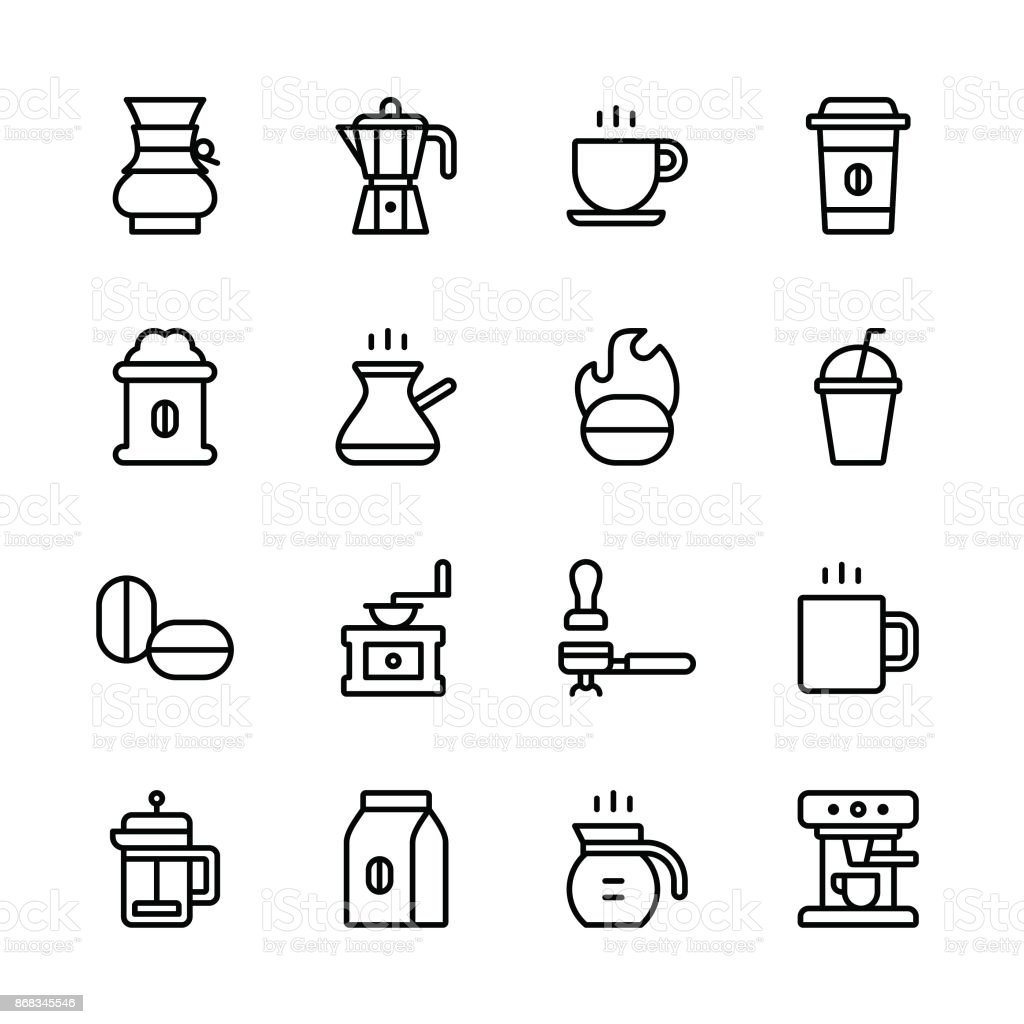 Coffee icons - line vector art illustration