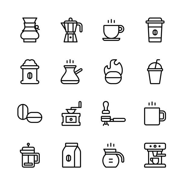coffee icons - line - coffee stock illustrations, clip art, cartoons, & icons