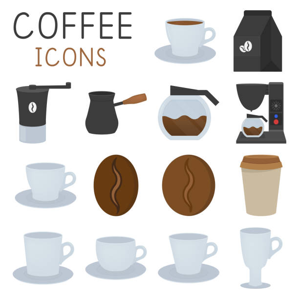Coffee icons set in flat style, coffee grinder, cups, etc. vector illustration Coffee icons set in flat style, coffee grinder, cups, etc. vector illustration coffee pot stock illustrations