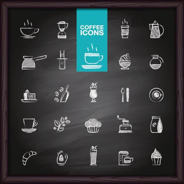 kaffee symbole setzen auf tafel - tassenkuchen stock-grafiken, -clipart, -cartoons und -symbole