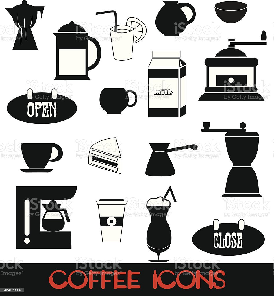 Coffee icons set royalty-free stock vector art