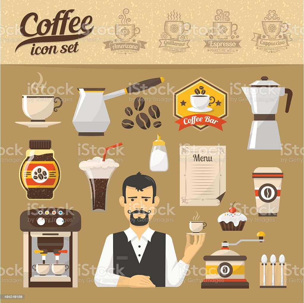 Coffee icons set vector art illustration
