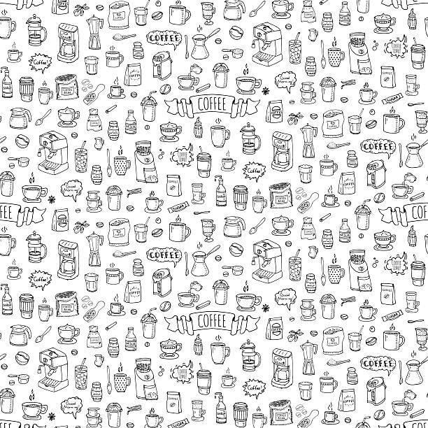 ilustrações de stock, clip art, desenhos animados e ícones de conjunto de ícones de café - coffe shop