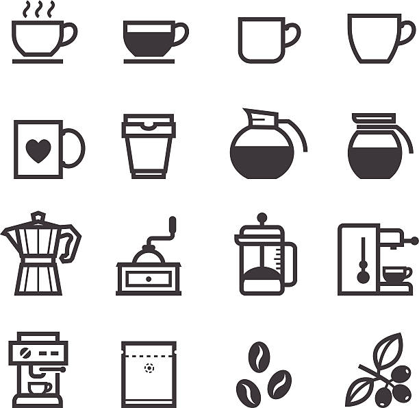 Coffee icons Coffee icons with White Background coffee pot stock illustrations