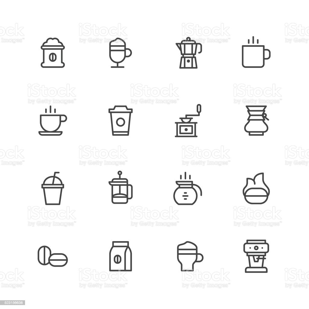 Coffee icons vector art illustration