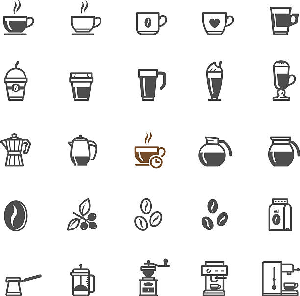 Coffee icons Coffee icons with White Background caffeine stock illustrations