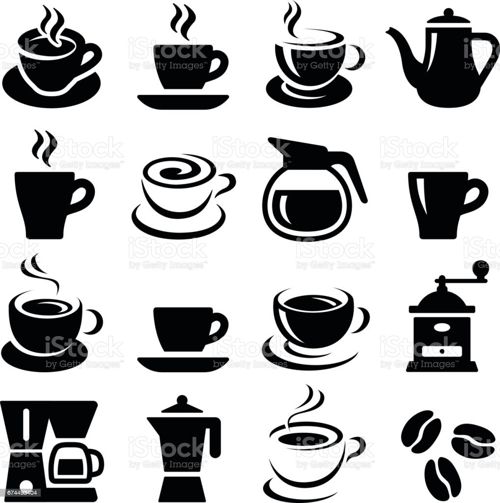 Coffee icons royalty-free coffee icons stock illustration - download image now