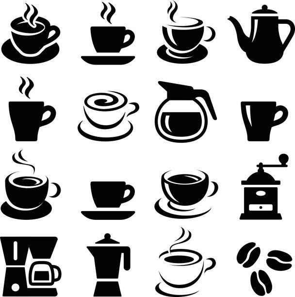 coffee icons - coffee stock illustrations, clip art, cartoons, & icons
