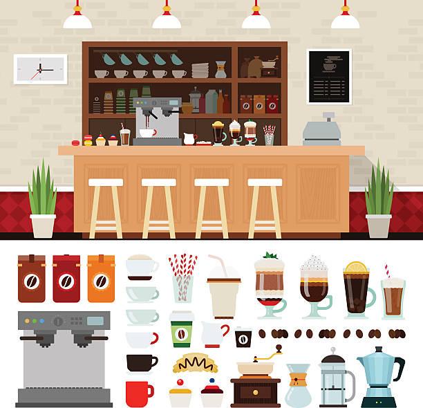 ilustrações de stock, clip art, desenhos animados e ícones de conjunto de ilustração de café com fundo interior da loja - coffe shop
