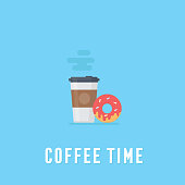 Flat coffee and donut