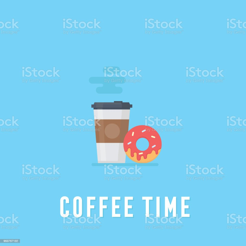 Coffee in plastic cup and donut, breakfast food, coffee time vector art illustration