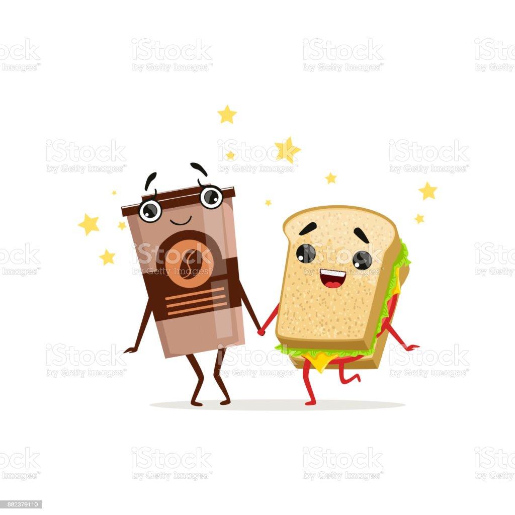 Kaffee Im Plastikbecher Und Sandwich Mit Den Händen Halten Fastfood ...