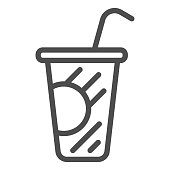 Coffee in plastic cup line icon, drinks concept, Disposable cup with lid and straw sign on white background, Paper cup with drinking straw icon in outline style for mobile. Vector graphics