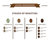 Coffee infographic. Stages of roasting. Flat style, vector illustration.