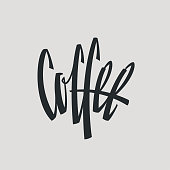 Coffee Inscription Word Logo Name Hand Painted Brush Lettering Calligraphy Template