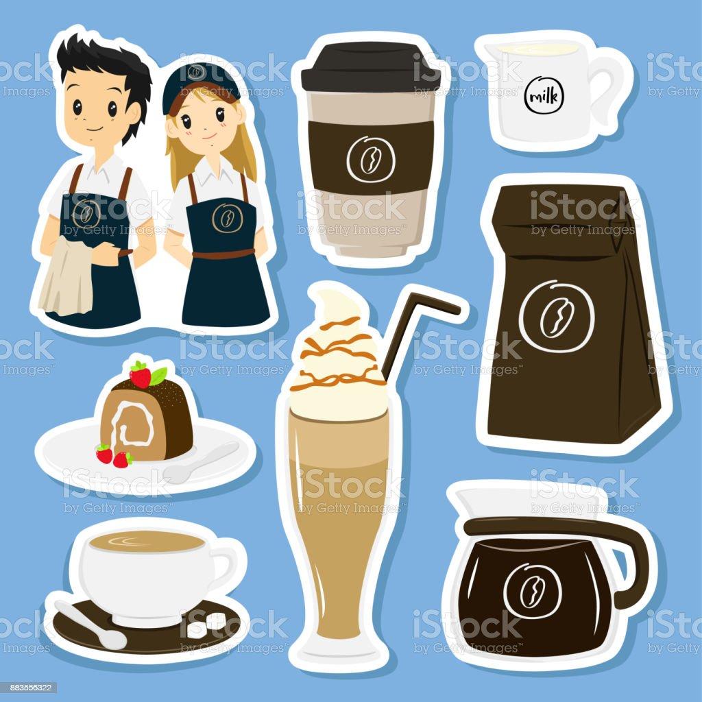 Artículos café y pegatinas de carácter conjunto Vector - ilustración de arte vectorial