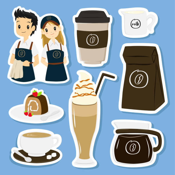 coffee items and character stickers set vector - barista stock illustrations, clip art, cartoons, & icons