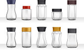 Instant coffee 10 empty realistic various shape glass and plastic jars packaging collection 3d isolated vector illustration