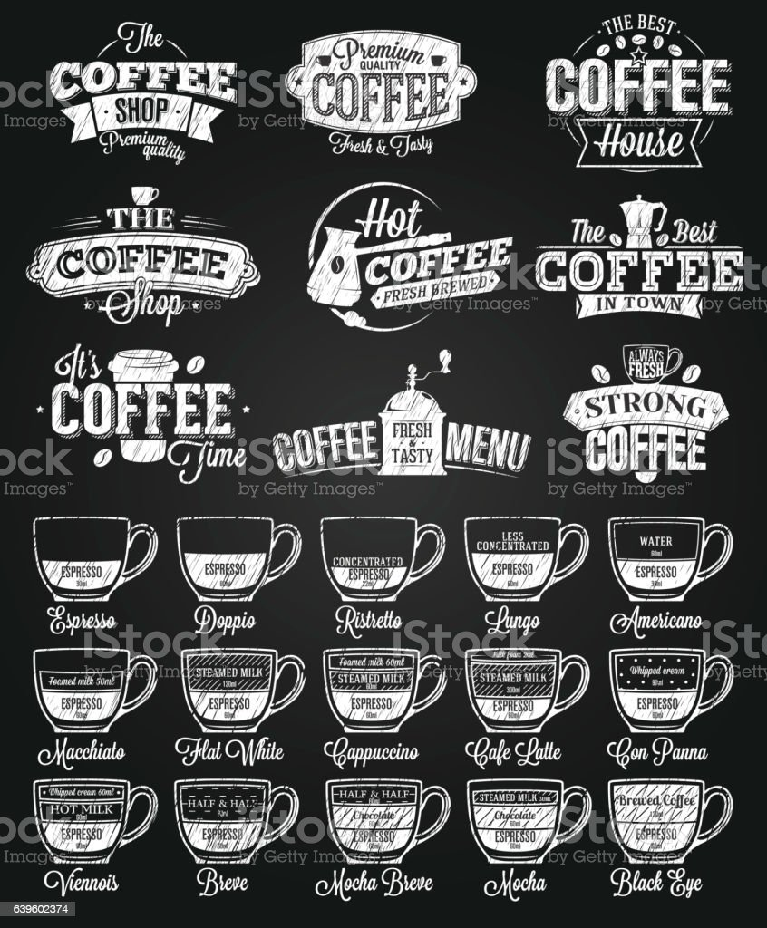 Coffee Label, logo and menu chalk drawing vector art illustration