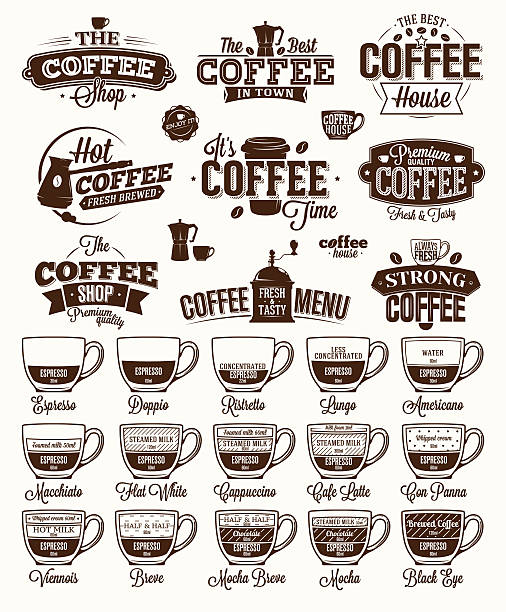 coffee label, logo and menu - barista stock illustrations, clip art, cartoons, & icons