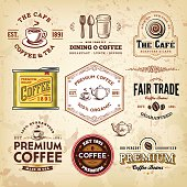 A collection of coffee-themed design elements. EPS 10 file, with transparencies (overall layer effects only), layered & grouped.
