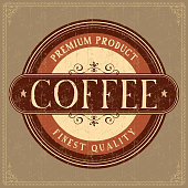 Coffee Label. Grunge style.