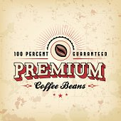 A coffee-themed label design. EPS 10 file, with transparencies (overall layer effects only), layered & grouped.