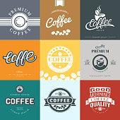 Coffee Vintage Labels Template Collection. Vector Symbols and Icons of Retro style. Mocha, Espresso, Ristretto, Latte, Americano.