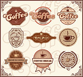 design of vector coffee labels.This file was recorded with adobe illustrator cs4 transparent. EPS10 format.