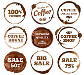Coffee labels. Watercolor dirty espresso cup ring stain. Cups logos stain splash texture with calligraphy. Vector stained insignia restaurant vintage isolated symbol illustration