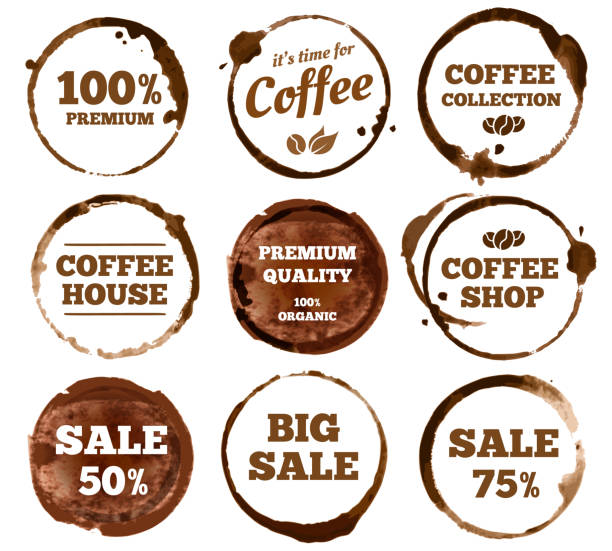 coffee labels. watercolor dirty espresso cup ring stain. vector isolated illustration - ziarno kawy palonej stock illustrations