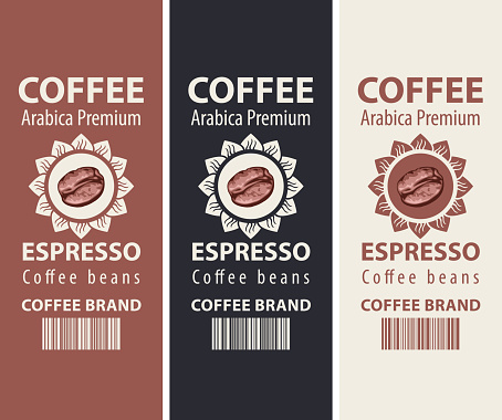 coffee labels with barcodes and coffee beans