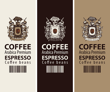 coffee labels with coat of arms and barcode
