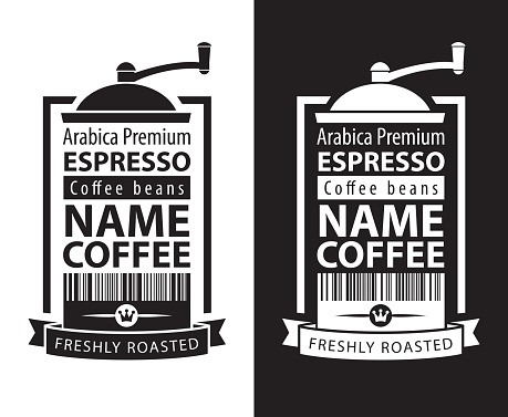 coffee labels with coffee grinders and barcodes