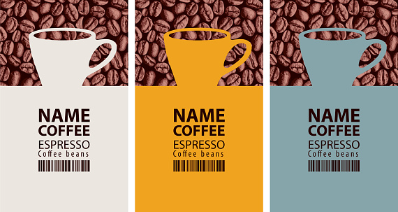 coffee labels with cups, barcodes and coffee beans