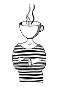 Girl with a mug instead of a head. Metaphor of love to coffee, tea.