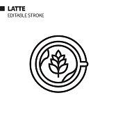 istock Coffee Latte Line Icon, Outline Vector Symbol Illustration. Pixel Perfect, Editable Stroke. 1212573343