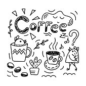 Coffee lettering. Doodle small funny birds, Sun, sleepy cloud, coffee beans and twigs . Hand-drawn illustration. Vector.