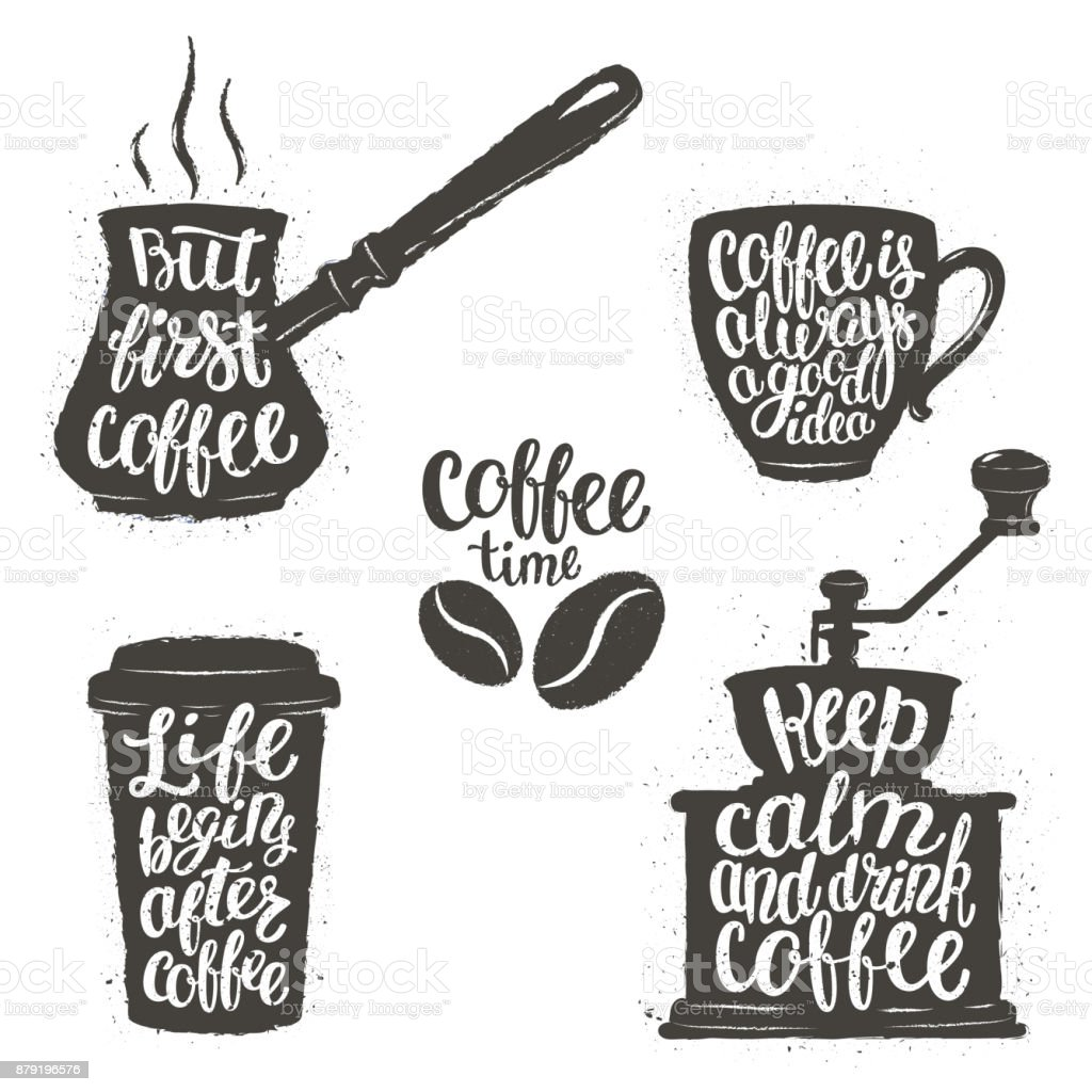 Coffee lettering in cup grinder pot shapes modern