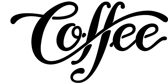 Coffee lettering isolated on white background